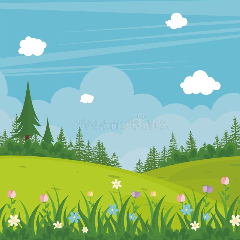 Lovely Spring landscape background with cartoon style royalty free illustration
