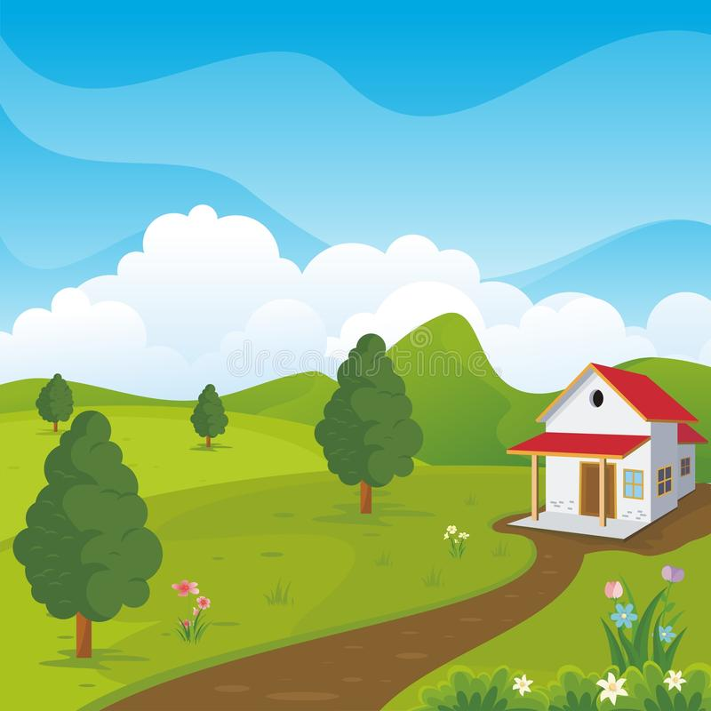 Lovely Spring landscape background with cartoon style. Cute, adorable and trendy design. suitable for game background, cover, flyer, brochure and other royalty free illustration