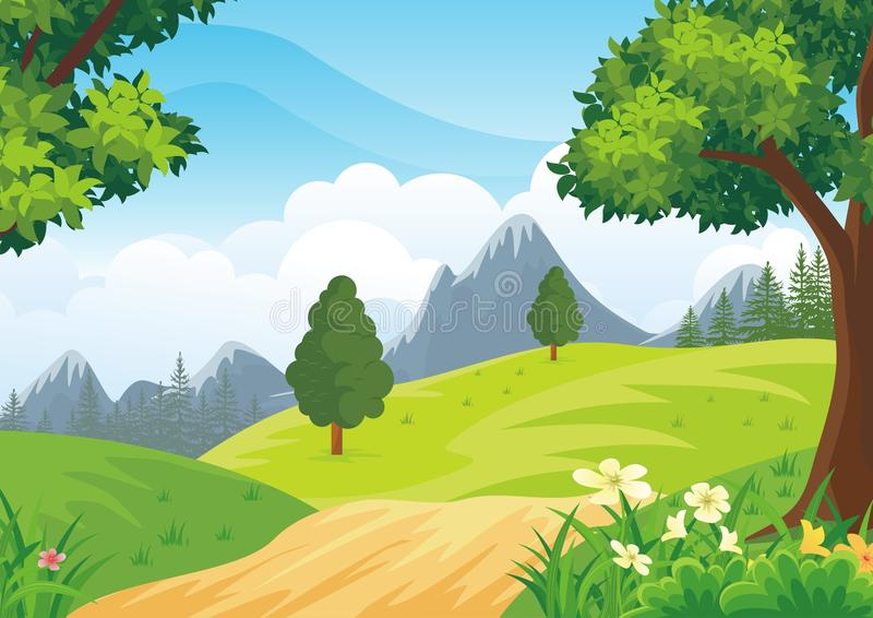 Lovely Spring landscape background with cartoon style stock illustration
