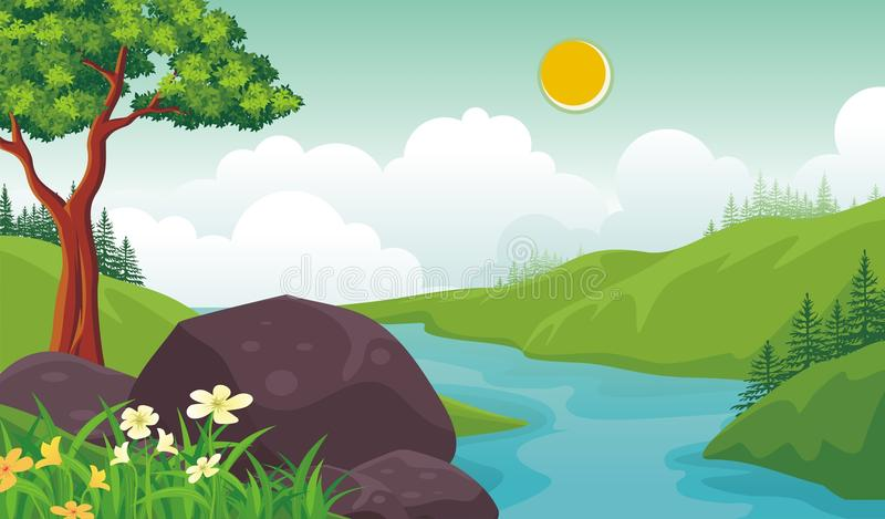Lovely Spring landscape background with cartoon style. Cute, adorable and trendy design. suitable for game background, cover, flyer, brochure and other stock illustration