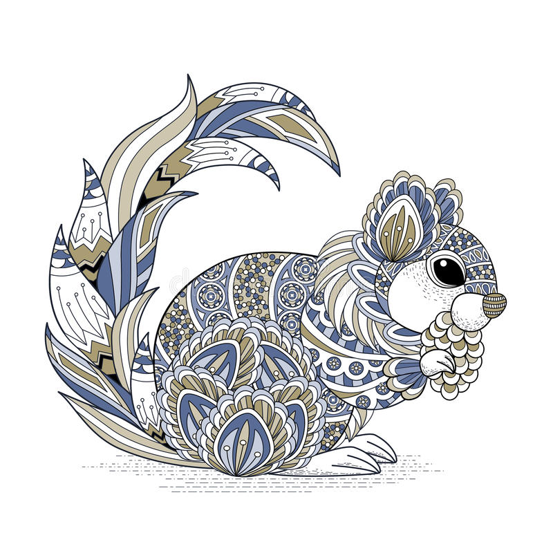 lovely squirrel coloring page royalty free illustration