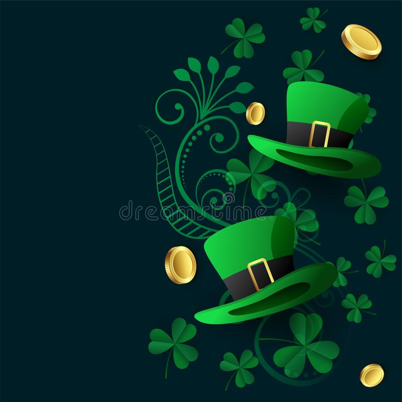 Lovely st patricks background with hat coin and leaves royalty free illustration