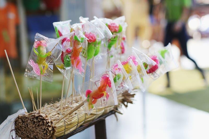 Lovely sugar Candy selling on Bangkok Streets. Good han made street dessert food Bangkok Thailand. stock image