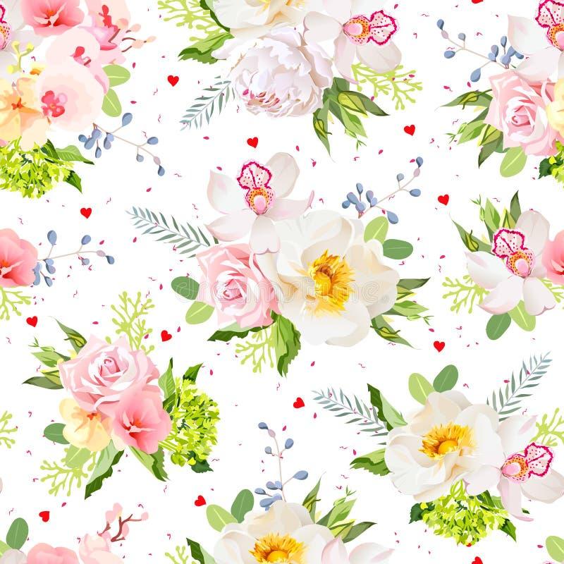 Lovely summer garden seamless vector print. Wild rose, orchid, fresh green leaves, blue berries. vector illustration