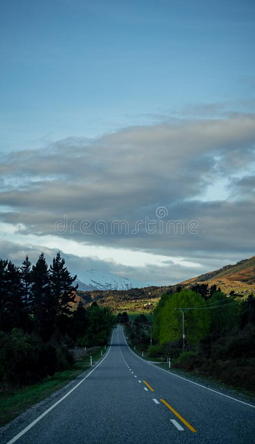 Lovely sunset image of the Haast Past road, New Zealand stock photos