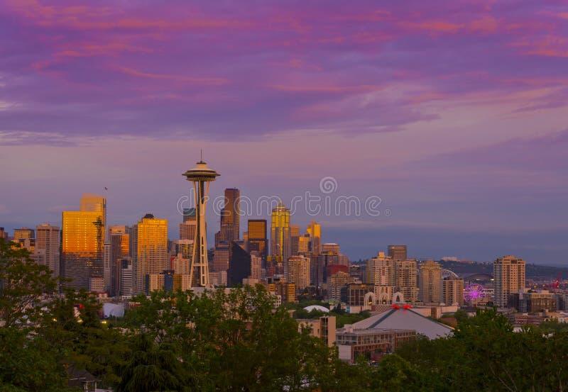 Lovely sunset of Seattle, Washington stock images