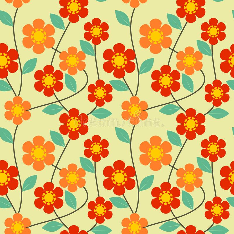 Lovely and sweet flower and green leaves on vivid retro tone background. Seamless pattern vector. vector illustration