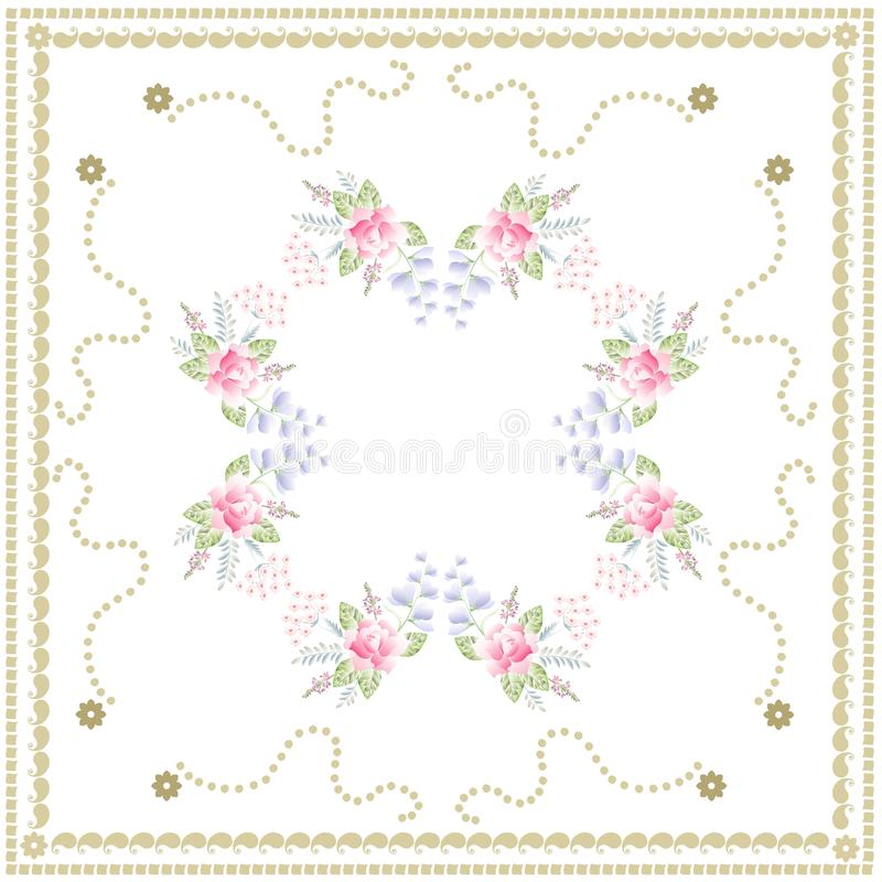 Lovely tablecloth with cute bouquets of roses, sage, bell flowers and turkish carnation on white background. Vector design.  royalty free illustration