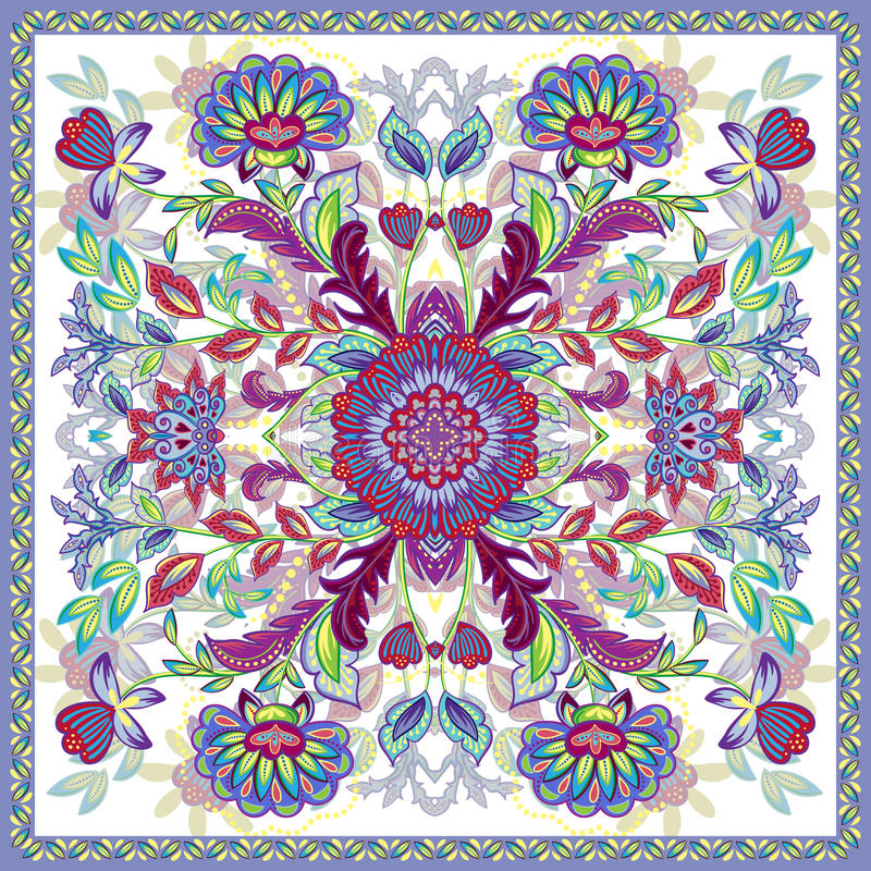 Lovely tablecloth ethnic indian flowers. Beautiful vector ornament. Card, bandana print, kerchief design, napkin. Bright. Colorful ornate pattern on white stock illustration