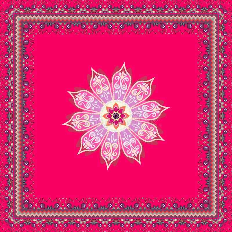 Lovely tablecloth, pareo, square carpet or bright doily with mandala flower, ornamental frame and paisley in indian style.  stock illustration