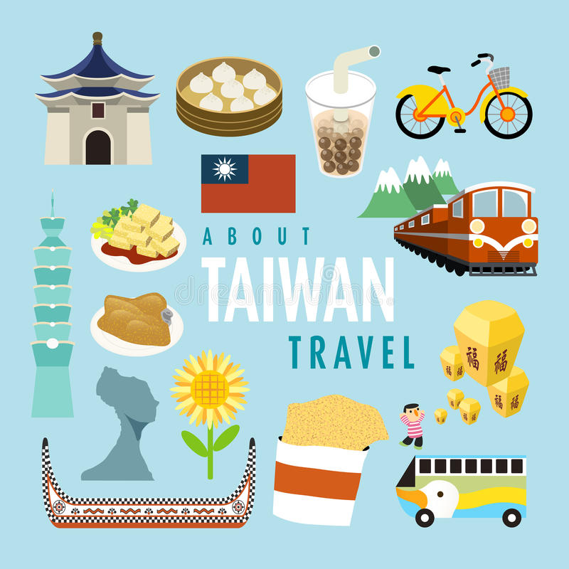 Lovely Taiwan specialties and attractions vector illustration