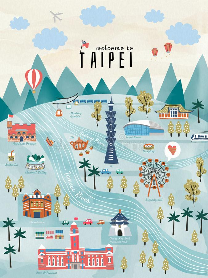 Lovely Taiwan travel concept. Hand drawn style illustration with famous attractions in Taipei stock illustration