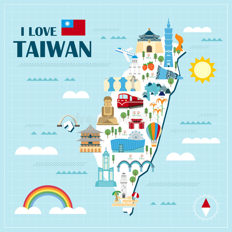 Lovely Taiwan travel map. Design in flat style