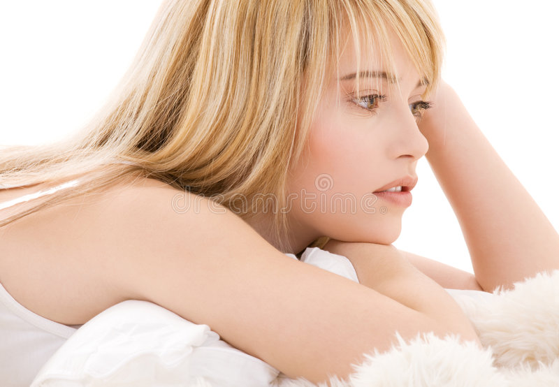 Lovely teenage girl. Bright picture of lovely teenage girl in white cotton shirt royalty free stock photos