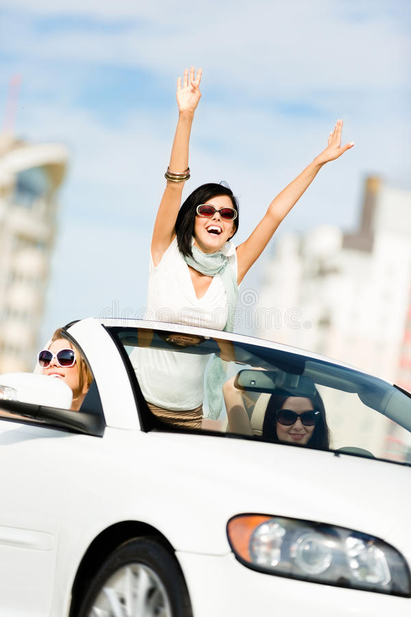 Download Lovely Teenager With Her Hands Up In The Cabriolet Stock Photo - Image of carefree, highway: 28881476