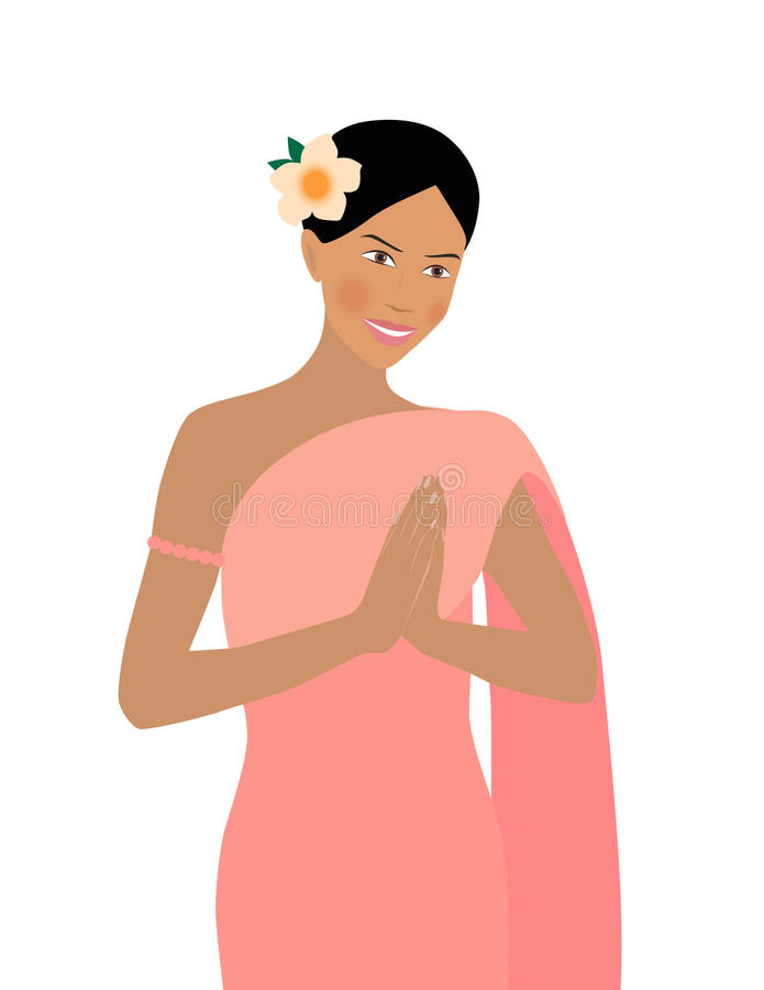 Lovely Thai woman welcomes royalty free illustration