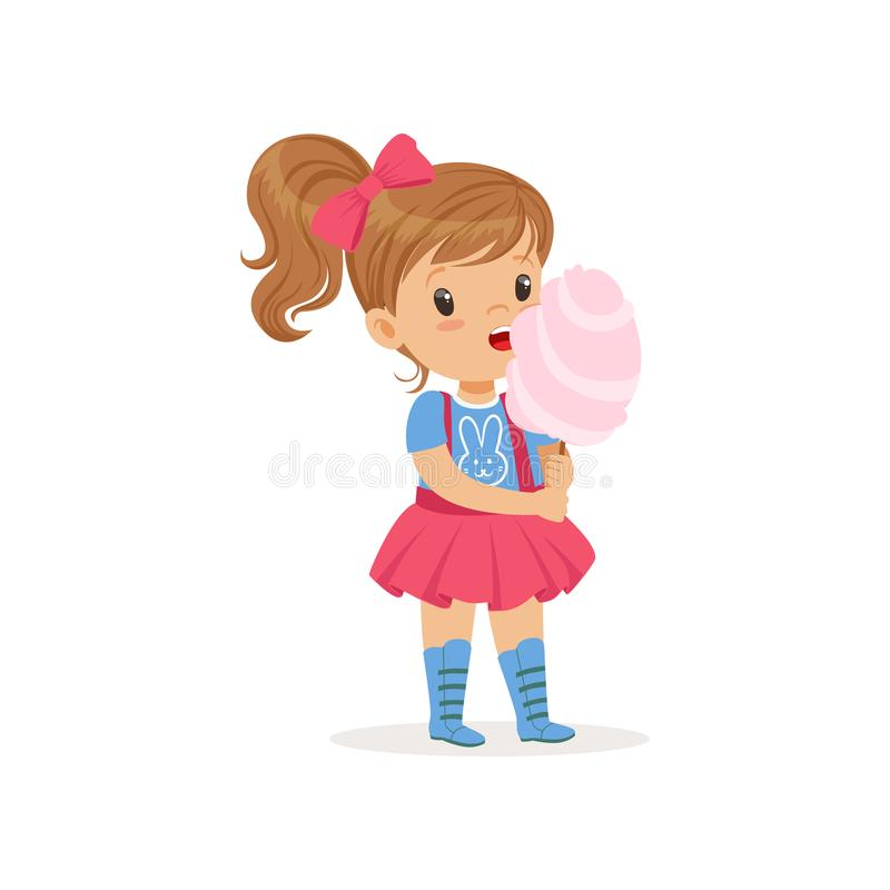 Lovely toddler kid eating sweet cotton candy on stick. Brown-haired girl with ponytail in blue t-shirt with bunny print and pink skirt with suspenders. Vector vector illustration