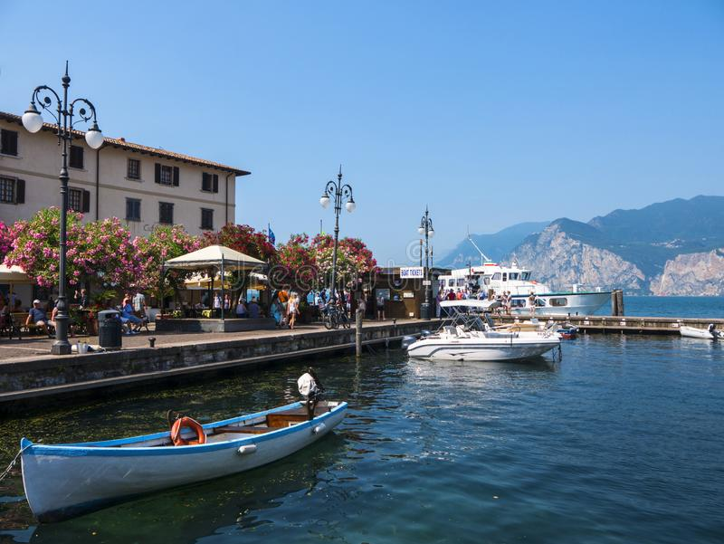 The lovely town of Malcesine on Lake Garda where is famous castle guards the entrance to its harbour. Lake Garda is a popular European tourist destination and stock photos