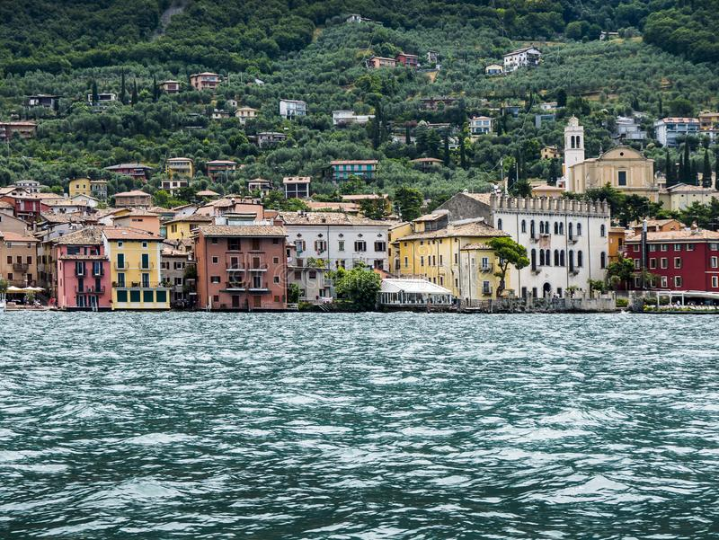 The lovely town of Malcesine on Lake Garda where is famous castle guards the entrance to its harbour.Malcesine is so s. Lake Garda is a popular European tourist stock photography
