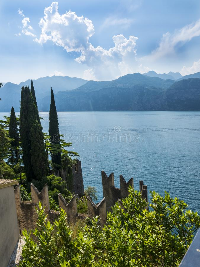 The lovely town of Malcesine on Lake Garda where is famous castle guards the entrance to its harbour.Malcesine is so s. Lake Garda is a popular European tourist stock photo