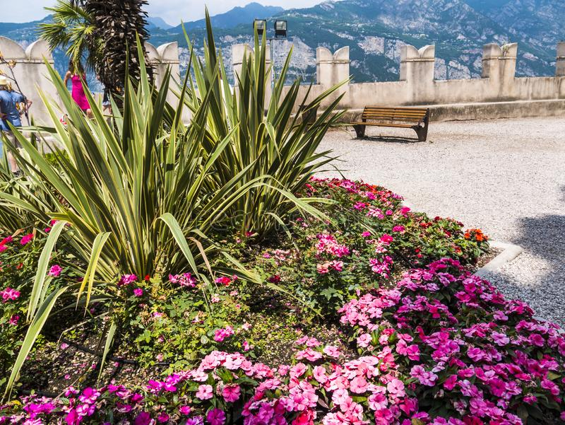 The lovely town of Malcesine on Lake Garda where is famous castle guards the entrance to its harbour.Malcesine is so s. Lake Garda is a popular European tourist royalty free stock images