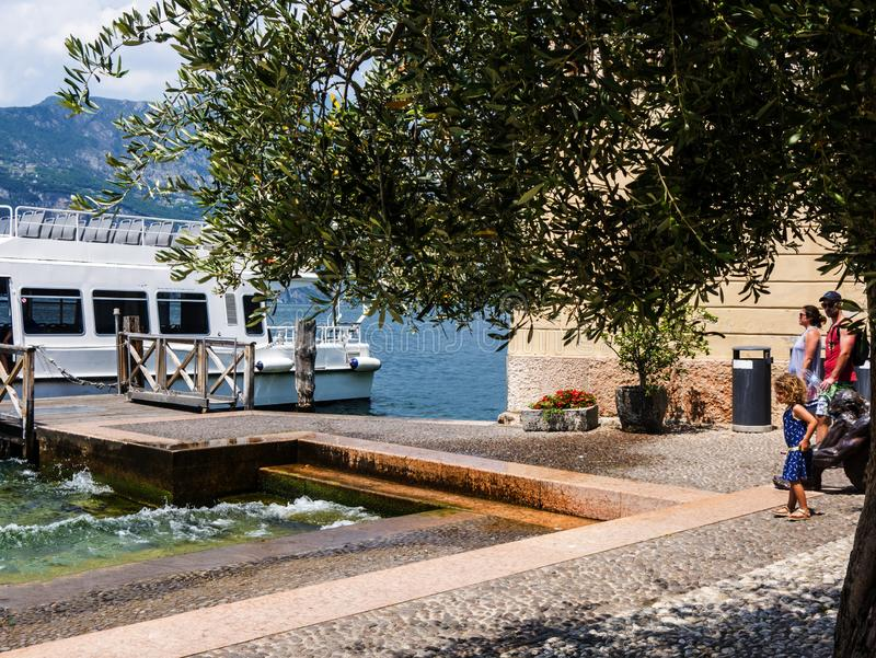 The lovely town of Malcesine on Lake Garda where is famous castle guards the entrance to its harbour.Malcesine is so s. Lake Garda is a popular European tourist royalty free stock photos