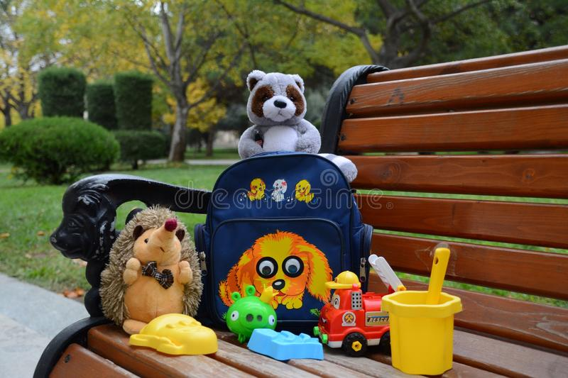 Toys. Lovely toys on bench royalty free stock images