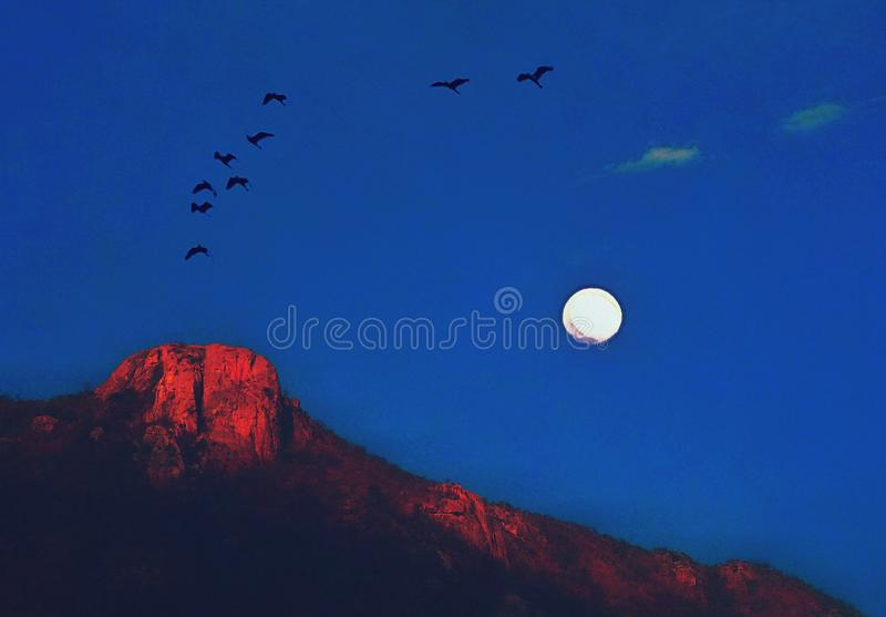 A lovely twilight moon view over the hill. A beautiful twilight moon in the blue sky over the hill.Birds are flying in the sky. Mild sunlight is reflecting on vector illustration