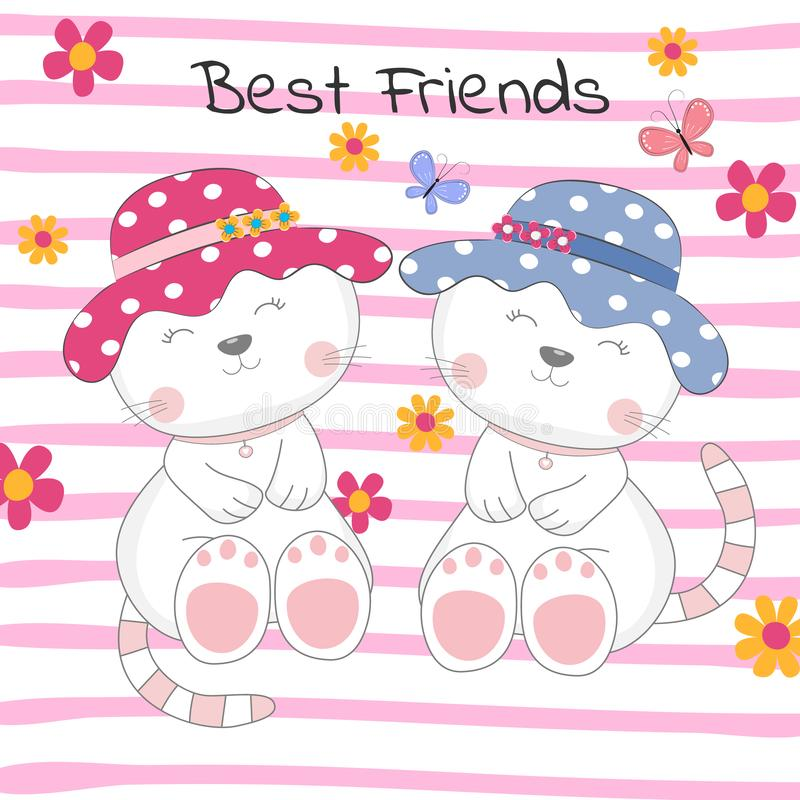 Free Lovely Two Cats With Text Best Friends On Colored Background. Royalty Free Stock Photo - 137251065