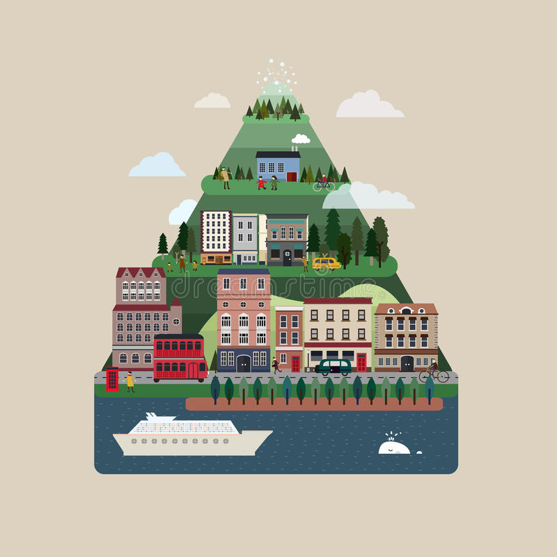 Lovely urban landscape in flat design royalty free illustration