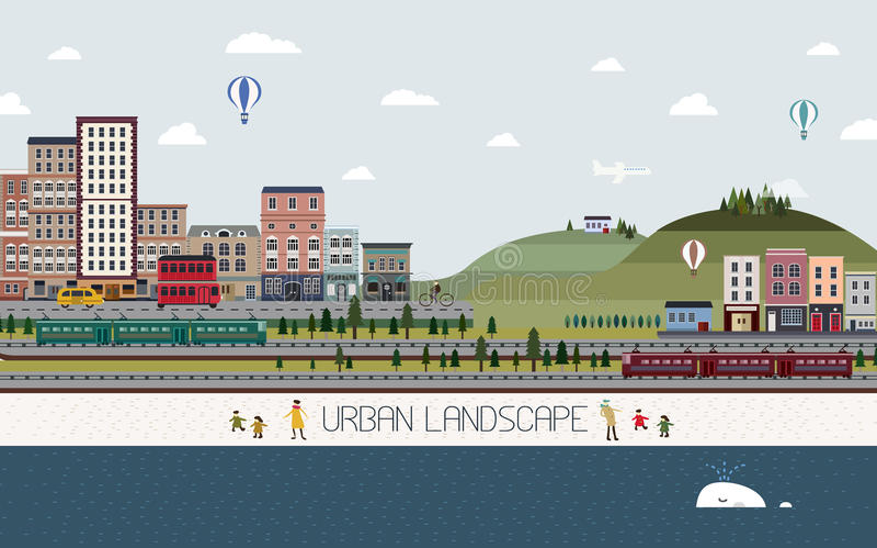 Lovely urban landscape in flat design stock illustration