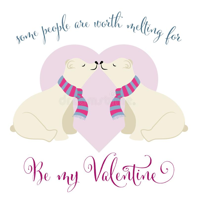 Lovely Valentine`s day card with polar bears couple. Flat design stock illustration