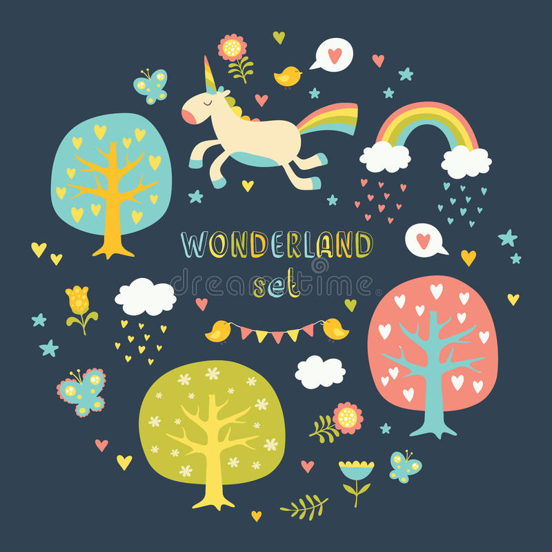 Lovely vector collection set with cute unicorns. stock image