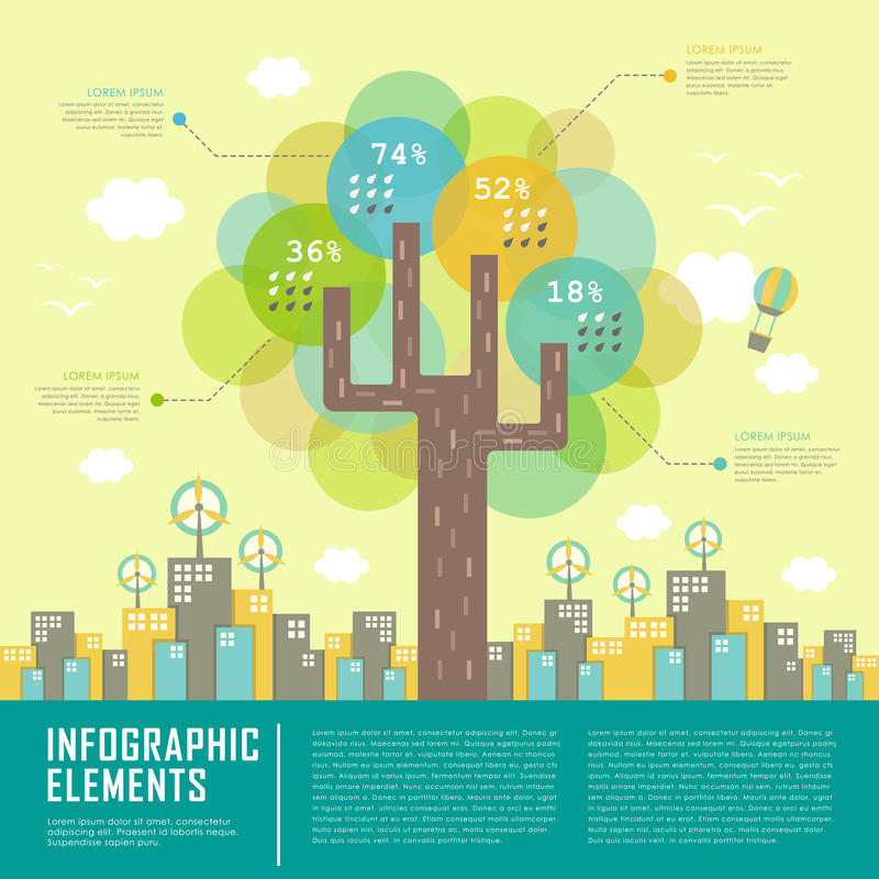 Lovely vector flat design template with tree element. Lovely vector flat design infographic template with tree element stock illustration