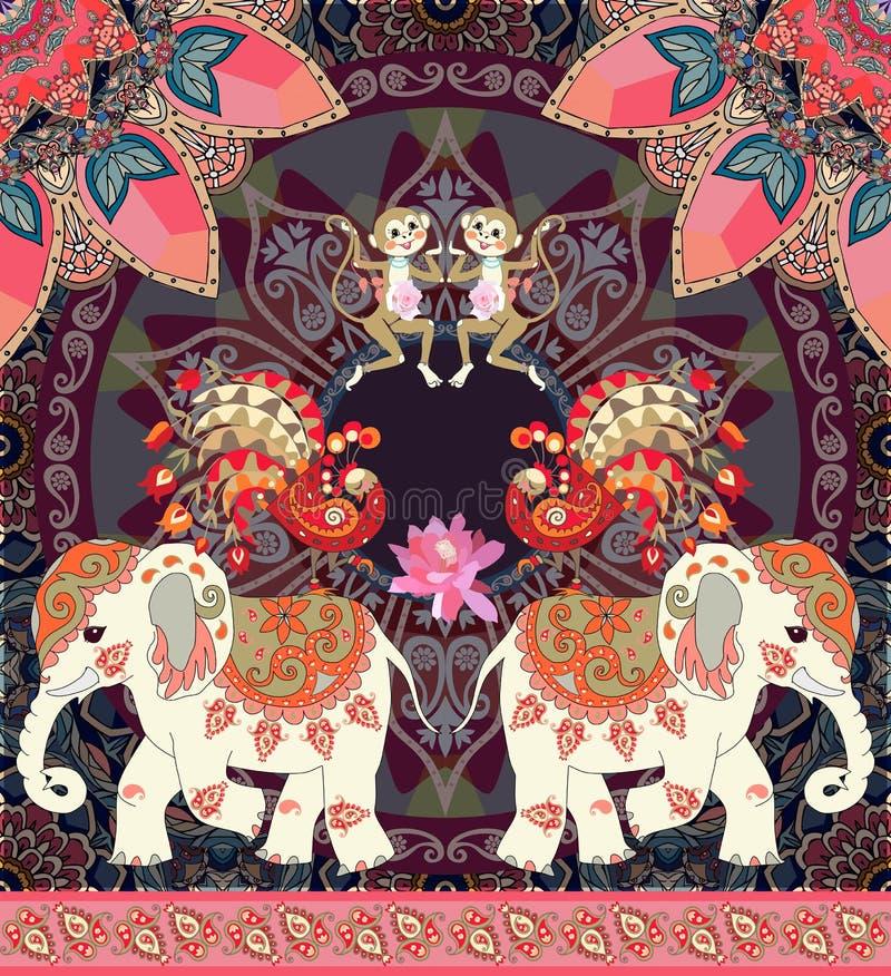 Lovely vector illustration for kid with cheerful monkey, cute cartoon elephants, fairy peacocks and paisley border. stock illustration