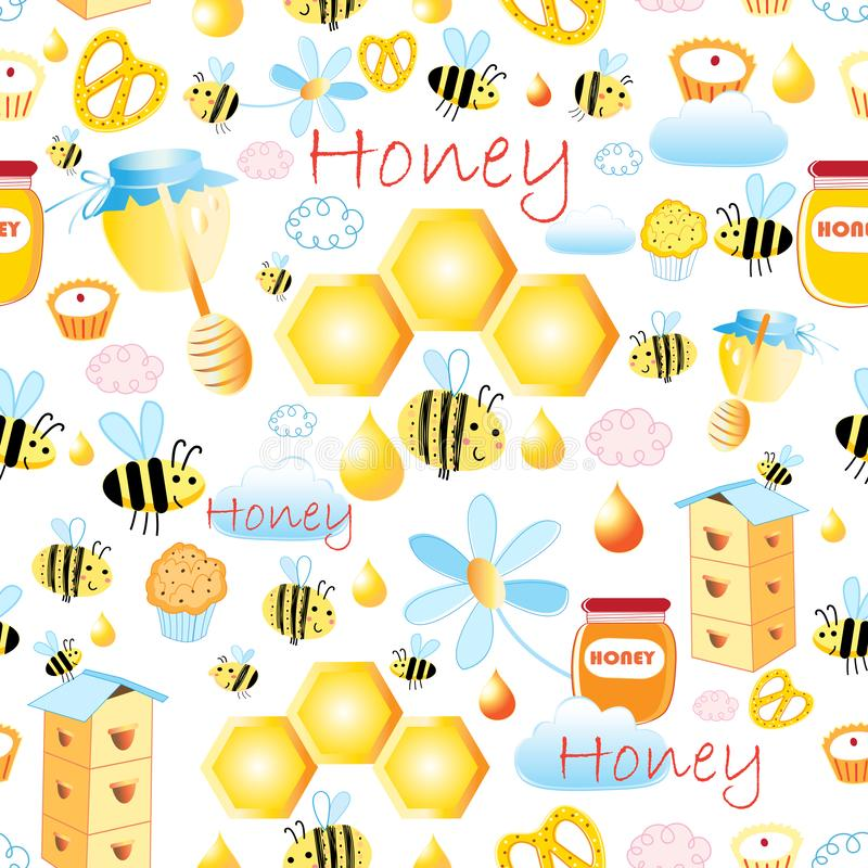 Lovely vector seamless pattern with bees and honey 库存例证