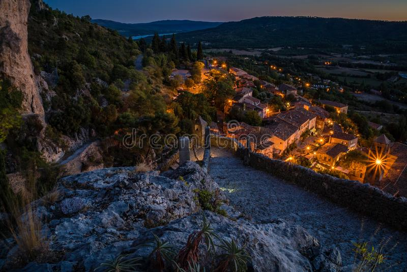Moustiers Sainte Marie at night stock photo