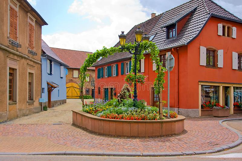 Lovely village near Onzain. A small village near Onzain - France with colored houses stock photo