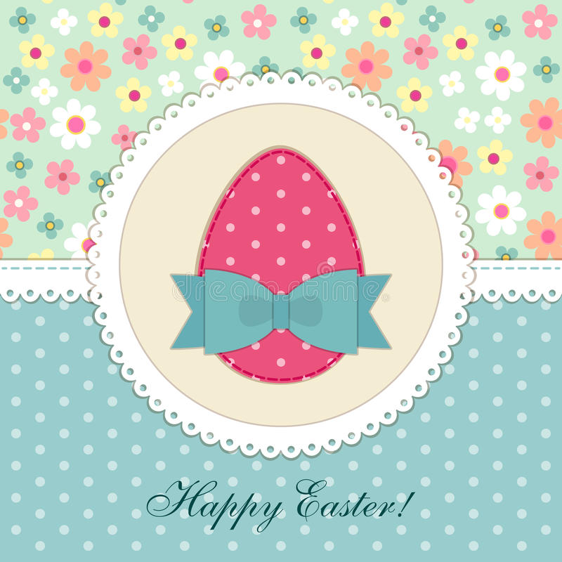 Lovely vintage Easter card with patch fabric applique of egg in shabby chic style. For your decoration vector illustration