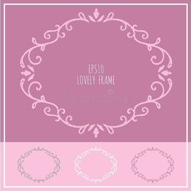 Lovely vintage frame 03 - feminine elegant floral design stock illustration