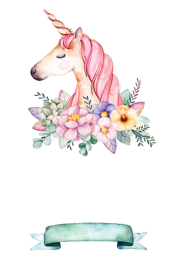 Download Lovely Watercolor Card With Text For Example With Peony,flower,leaves,succulent Plant,branches,cute Unicorn And Ribbon. Stock Illustration - Illustration of leaf, colorful: 86121435