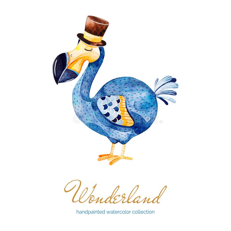 Lovely watercolor illustration with cute Dodo bird with cylinder hat. royalty free illustration