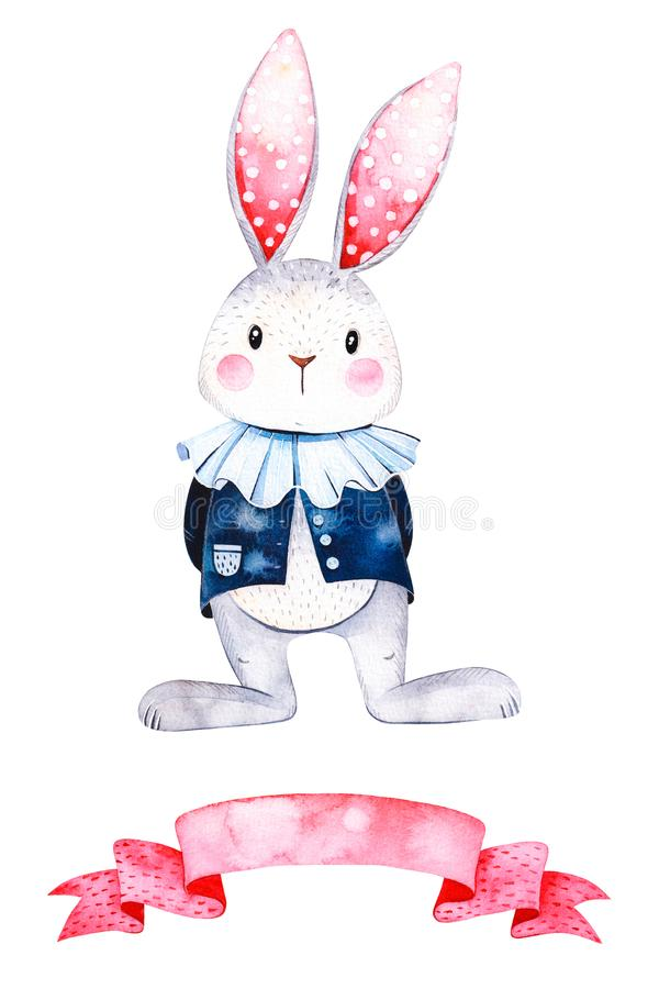 Lovely watercolor illustration with cute white rabbit and ribbon vector illustration