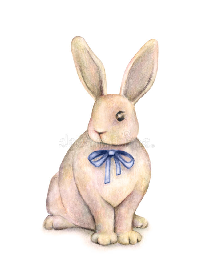 Lovely watercolor rabbit with a blue bow is on a white background. Children's fantastic drawing. Handwork royalty free illustration