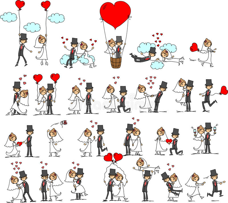 Lovely wedding the bride and groom,vector stock illustration
