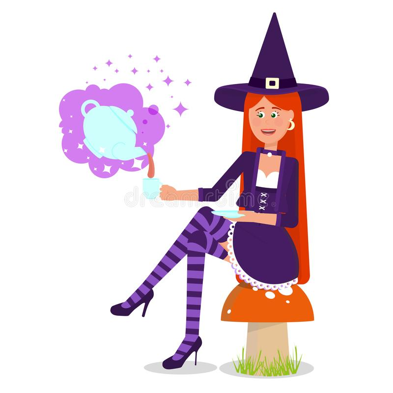 The lovely witch conjured a magic drink. stock illustration