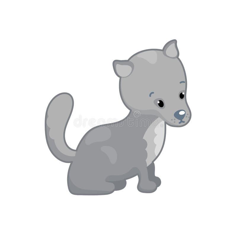 Lovely wolf illustration on white background. Woodland animal icon. Cute grey wolf or dog clipart royalty free illustration