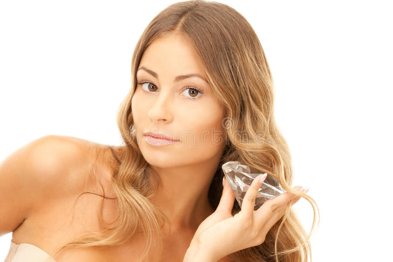 Lovely woman with big diamond. Picture of lovely woman with big diamond stock photo