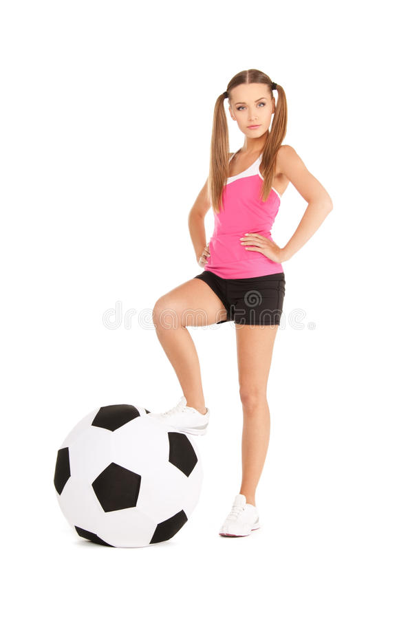 Download Lovely Woman With Big Soccer Ball Stock Photo - Image of activity, pretty: 40472044