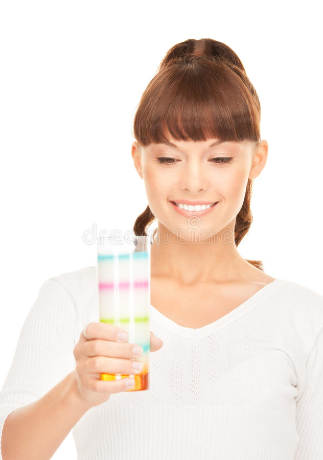 Lovely woman with glass of milk stock photo